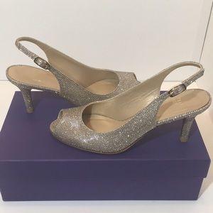 Stuart Weitzman Platinum Noir Heels Sandals